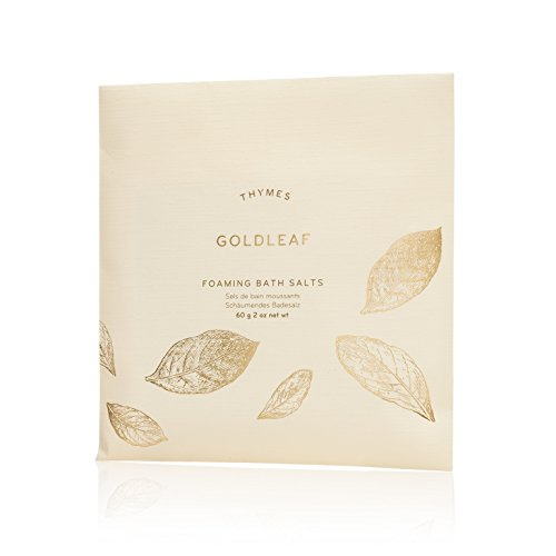 Foaming Bath Jasmine (Thymes - Goldleaf Foaming Bath Salts - Soothing Combination of Epsom and Sea Salt for Relaxing Bath Soak - 2 oz)