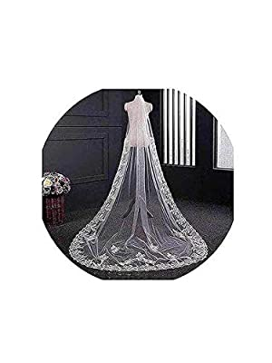 Yalice Women's Applique Bride Wedding Veil Long Chapel Length 1 Tier Bridal Veil Soft Tulle Hair Accessories