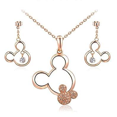 Parure Bijoux 4 pièces Disney Swarovski Elements Gold Rose