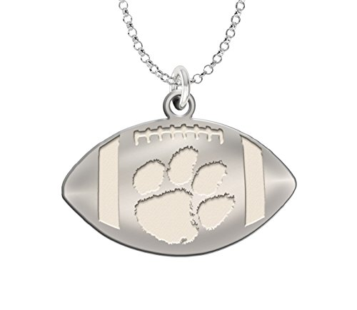 Clemson Tigers Charm | Sterling Silver Natural Finish Football Cut Out ()