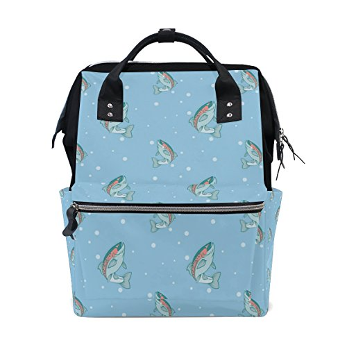 MaMacool Mummy bag Diaper Tote Bags Larger Capacity Baby Nappy Bag Rainbow Trout Blue Pattern Muti-Function Travel ()