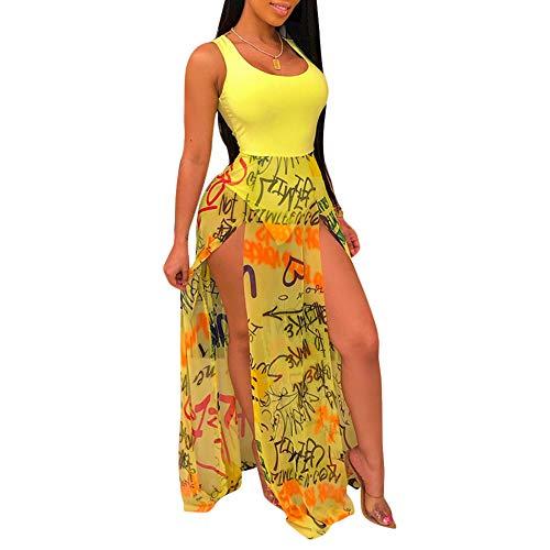 - Womens Sexy Graffiti Mesh Dress - Bodycon Off Shoulder Side Split Long Maxi Dress Yellow