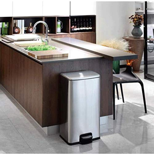 Zlj Kitchen Trash Can Square Trash Can Villa Living Room Large Double Drum Pedal Black Gold Stainless Steel Color Reusable World