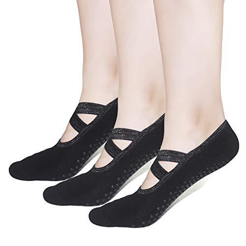 - Pilates Socks Yoga Barre Ballet For Women - Elutong 1-3 Pairs Sticky Gripper Slipper Non Slip Grips Socks Sox