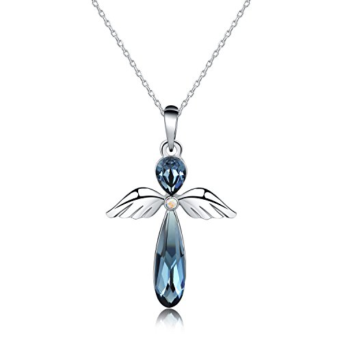 HERAYLI Guardian Angel Pendant Necklace for Women/Girls, Made with Swarovski Crystal Necklace Jewelry Gift(Blue)