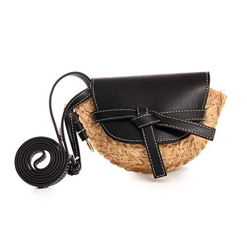 BOKPLD Mini Straw Crossbody Bag Handbag with Leather Flap - Saddle Shape