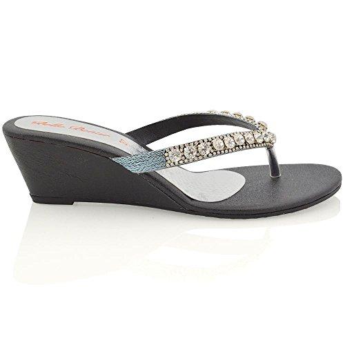 ESSEX GLAM Damen Silber Keilabsatz Zehentrenne Thong Sandalen mit gehäuften Schmucksteinen EU 42 BGVom5qt