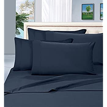 Luxurious Bed Sheets Set on Amazon! Elegant Comfort 1500 Thread Count Wrinkle,Fade and Stain Resistant 5-Piece Bed Sheet Set, Deep Pocket, Hypoallergenic - Split King Navy Blue