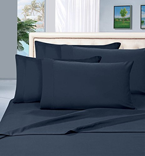 Luxurious Bed Sheets Set on Amazon! Elegant Comfort 1500 Thread Count Wrinkle,Fade and Stain Resistant 4-Piece Bed Sheet Set, Deep Pocket, Hypoallergenic - Queen Navy Blue