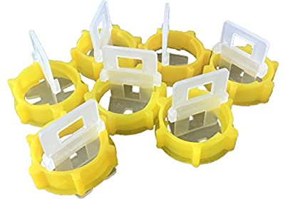 """Genuine Goods Anti-Lippage Tile Leveling System For Floor Or Wall, 1/25"""" Spacing, 1 Bucket With 100 Caps + 200 Clips"""