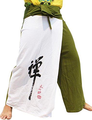 RaanPahMuang Thick Cotton Two Color Asian ZEN Symbol Samurai Pants, Medium, White On Green