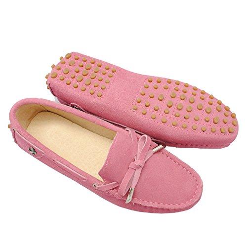 Confortable Cuir Appartements Mocassins Rose Femme Fille Décontracté Chaussures Daim Bateau Nœud Des Pour Foncé En Minitoo Hq40wTIxq