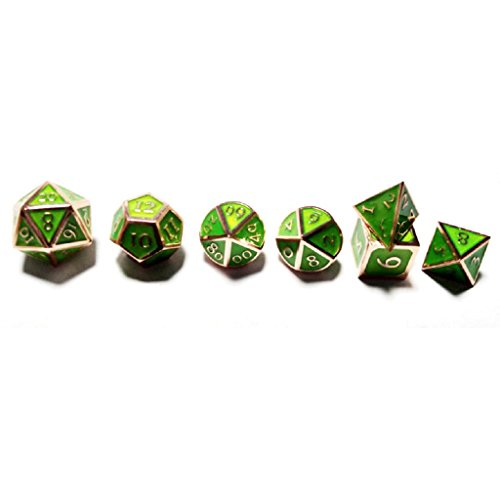 Flymall Solid Metal Polyhedral 7 Die Board Game Dice Set - Red Copper Transparent Green for D&D, Pathfinder, Shadowrun, and other Tabletop RPGs by Flymall