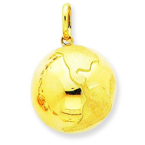 (14K Yellow Gold Globe Charm World Jewelry)