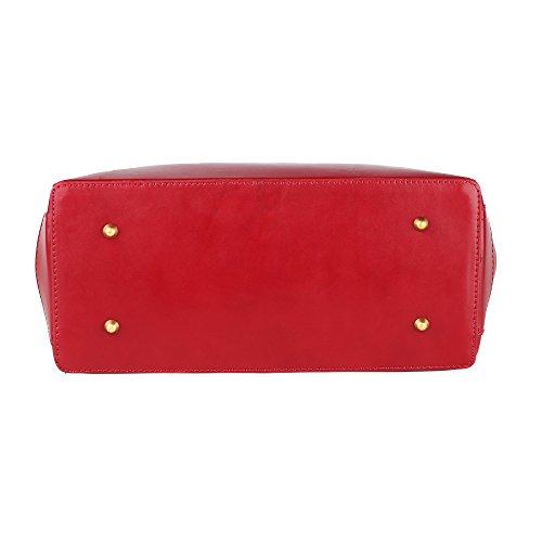 De Bolso Hombro En Chicca Cuero Genuino Rojo Mujer Cm Borse Made 35x28x16 Bolso Italy Con In Correa YAEqA0