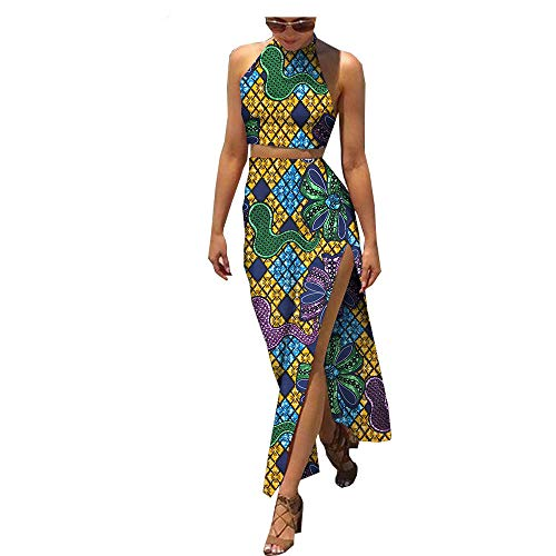 African Style Summer 2 Pieces Set for Women Sleeveless Ruffles top+Ankle-Length Skirt Women Set 423 XXS