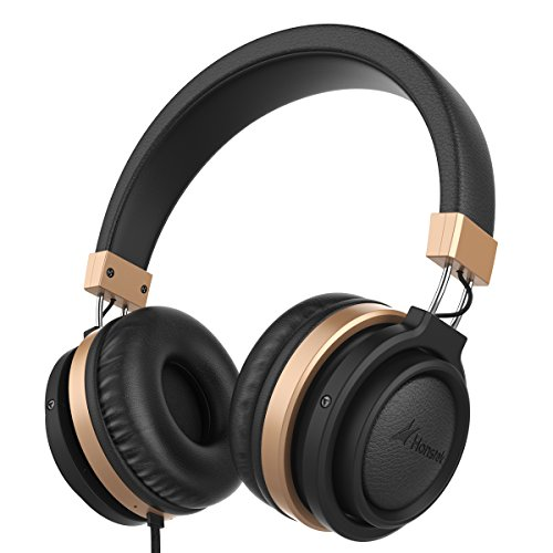 Honstek A5 Portable Headphones Stereo Bass Headset with Volume Control and In-line Microphone for Cellphones and PC and Laptop and Tablet