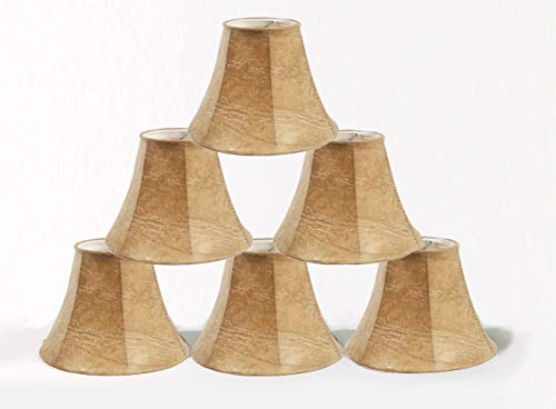 Urbanest Set of 6 Chandelier Lamp Shade 6-inch Bell, Faux Leather, Clip On