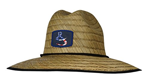 Hook & Tackle Men's American Lifeguard Fishing Stretch Fit Straw Hat Natural Large/X-Large