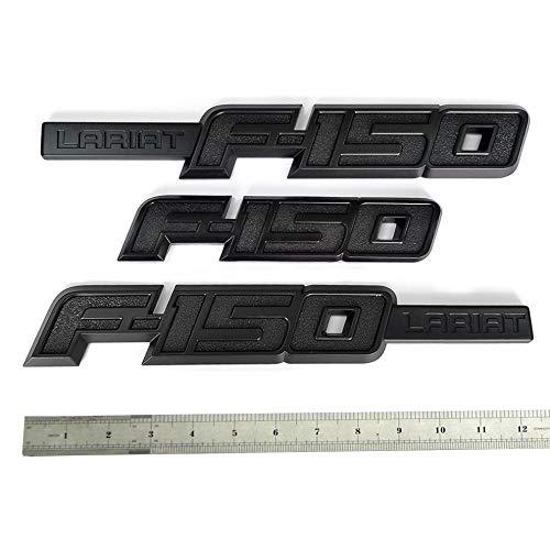3pcs OEM Black F-150 Lariat Emblem Side Fender F-150 Rear Tailgate Badge 3D Logo Replacement for F150 Origianl Size Genuine Parts