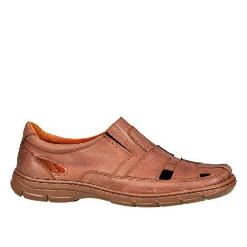 Lukpol Herren Sandalen Schuhe aus Buffelleder mit Orthopadischen Einlage Modell-1059 Hell Braun
