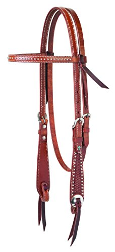 (Turquoise Cross Basket Weave Tooled Browband Headstall)
