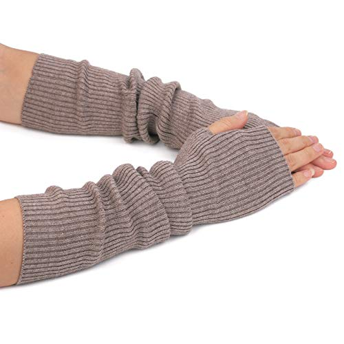 (Flammi Women's Knit Arm Warmers Cashmere Long Fingerless Gloves Thumbhole Mittens (Camel) )