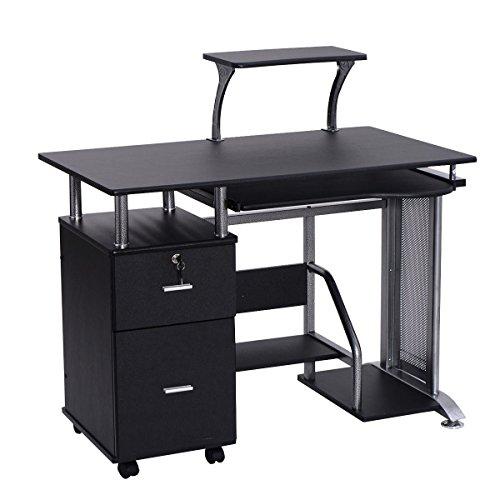Black Computer Desk with Printer Shelf by Apontus (Image #3)'