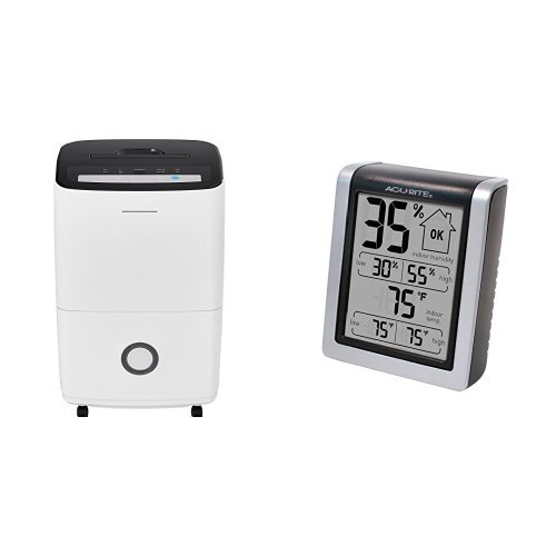 Frigidaire 70-Pint Dehumidifier with Built-in Pump in White & AcuRite 00613 Humidity Monitor with Indoor Thermometer, Digital Hygrometer and Humidity Gauge Indicator