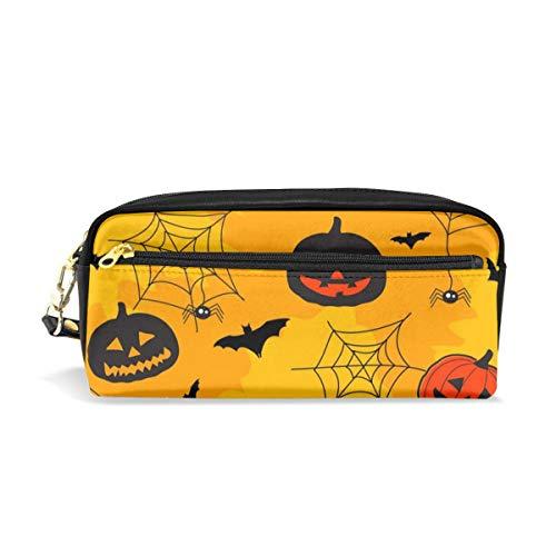 Portable PU Leather Pencil Case Halloween Bats Pumpkin Small Cosmetic Bags Makeup Bag Pencil Holder Pen Case -