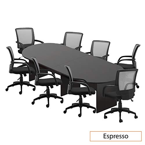 GOF 6FT, 8FT, 10FT Conference Table Chair (G10900B) Set, Cherry, Espresso, Mahogany, Walnut, Artisan Grey (10FT with 8 Chairs, Espresso) (Conference Table)