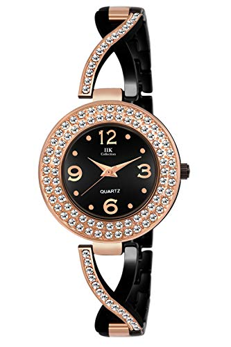 IIK Collection Black Dial Metal Chain Analog Watch for Women and Girls