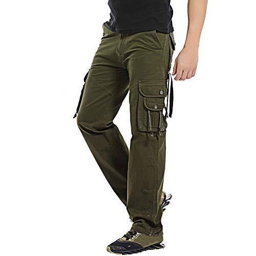 Multi Uomo Green Cotone Cargo Lavoro Army Casual Pantaloni Da In Lunghi tasca PEwqnXa