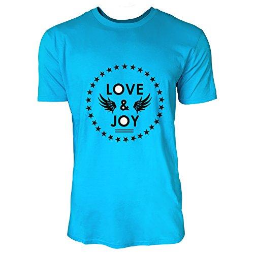 SINUS ART® Sportlicher Print Love & Joy mit Flügeln Herren T-Shirts in Karibik blau Cooles Fun Shirt mit tollen Aufdruck