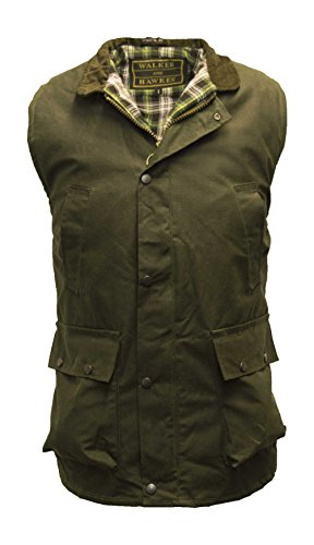 Walker and Hawkes Men's Wax Bodywarmer Waistcoat Countrywear Gilet Olive