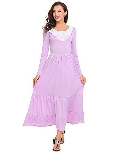 ELESOL Women Gypsy Tiered Smock Waist Renaissance Party Long Maxi Peasant Dress Lilac L