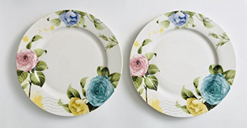 Green Flower Plates Set (Set Of 2 | White With Pink Stripe And Blue, Green And Pink Rose Flower Patterned Porcelain Plates | 10.5 inches)