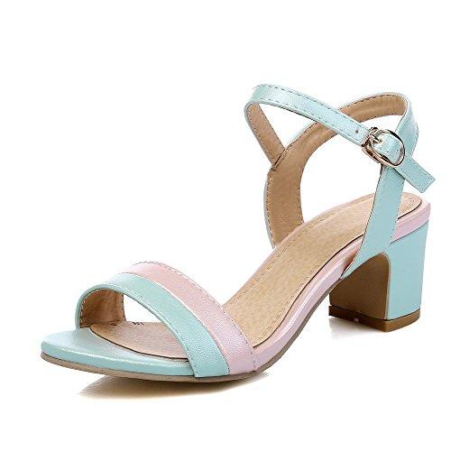 AllhqFashion Mujetes Colores Surtidos Hebilla Puntera Abierta Tacón ancho Sandalias de vestir Azul