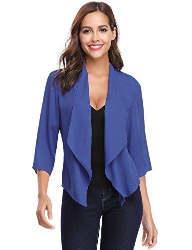 Abollria 3 4 Blu Coprispalle Corto Donna Elegante Leggero Maniche Lunghezza Elegante Estivo con Cardigan Cardigan gOzrqFg
