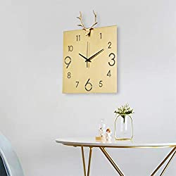 BJL Wall Clock, Clock, Pure Copper Deer Head, Living Room, Home Hanging Table, Simple Decorative Clock Modern Wall Clock (Color : B)