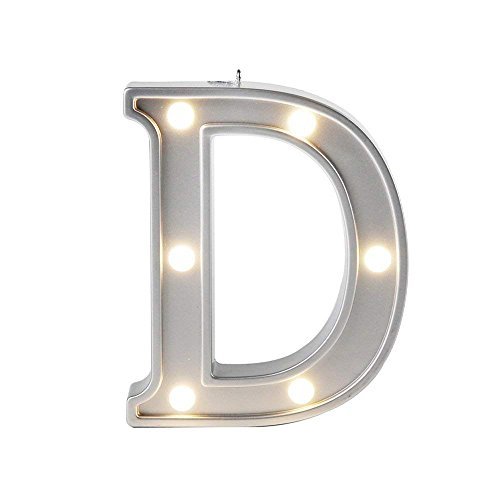 Lamp Alphabet (Small Letter D LED Night Light Marquee Sign Alphabet Lamp for Birthday Wedding Party Bedroom Wall Hanging Decor, Rooms Wall Decoration Lights Color Silver 4.21 inches high)