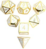 DND Polyhedral Metal Game Dice Gold White 7pc Set for Dungeons and Dragons RPG MTG Table Games D4 D6 D8 D10 D12 D20