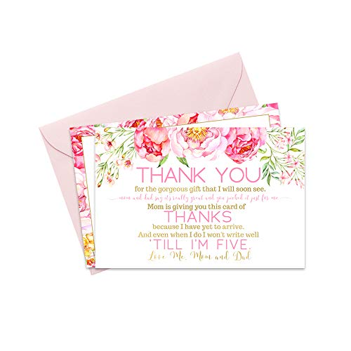 Floral Baby Shower Thank You Cards with Pink Envelopes - 15 -