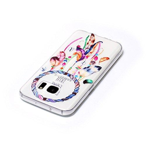 Funda Carcasa Transparente Silicona para Samsung Galaxy S7(con Gratis Pantalla Protector),KaseHome Único Mariposa y Cereza Rosa Patrón Cristal Claro Ultra Delgado Suave Durable Caucho Parachoque [Anti Color Atrapasueños Pluma