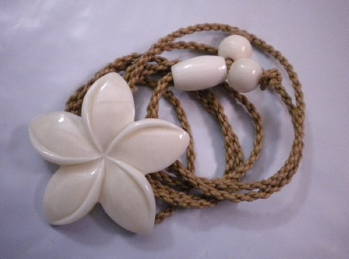 Carved Bone Hawaiian Plumeria Flower Surfer Style Pendant Choker Necklace -