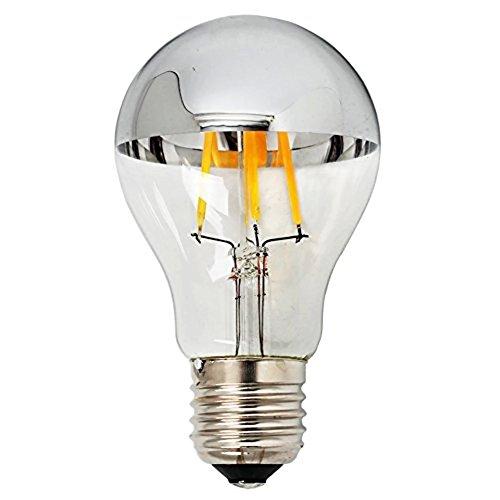 TOP YAO 4w A60 E26 Based LED Filament Vintage Bulb with Mirror E26 Medium Base Half Chrome Silver A Shape Bulb Energy Saving 2700k Warm White