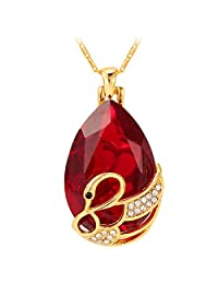 U7 New Austrian Crystal Fancy Stone Water Drop Pendant Necklace with 22 Inch/Resizable Chain