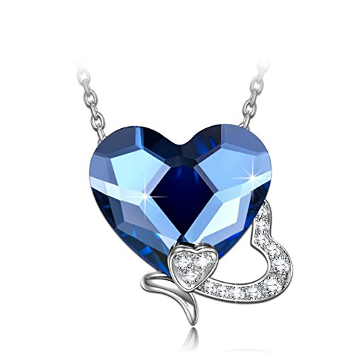 - NINASUN Blue Heart Necklace with Butterfly Women Gifts for Birthday 925 Sterling Silver Pendant Necklace Swarovski Crystals Jewelry for Women Anniversary Gifts for Wife Back To School Gifts for Girls