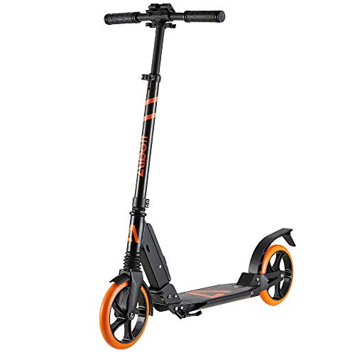 Albott Kick Scooter para adultos, adolescentes, niños de 8 años en adelante, sistema de suspensión doble, altura ajustable, plataforma de 5.3 de ancho, ruedas grandes de 7.9, scooter de sistema de plegado rápido, carga máxima de 220 lb