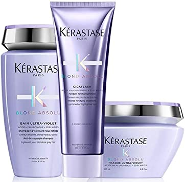 Kérastase - Pack de neutralizador Blond Absolu Bain Ultra-violet (250 ml), acondicionador Cicaflash (250 ml) y mascarilla Ultra-Violet (200 ml)
